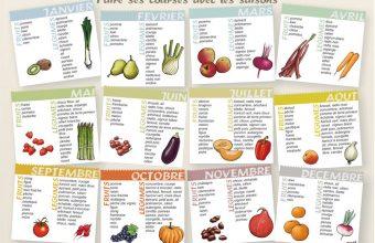 Liste des fruits et legumes en fonction des saisons